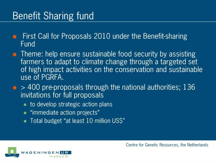 Benefit Sharing fund