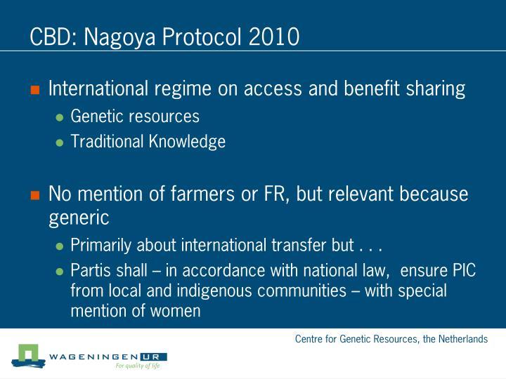 CBD: Nagoya Protocol 2010