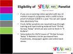 eligibility of panelist