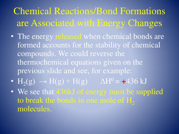 Chemical Reactions/Bond Formations are Associated with Energy Changes
