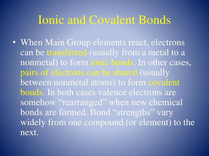 Ionic and Covalent Bonds