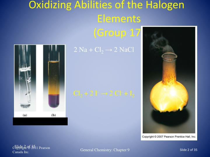 Oxidizing abilities of the halogen elements group 17