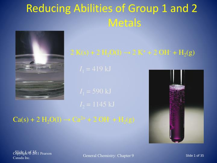 Reducing abilities of group 1 and 2 metals