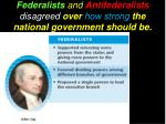 federalists and antifederalists disagreed over how strong the national government should be1