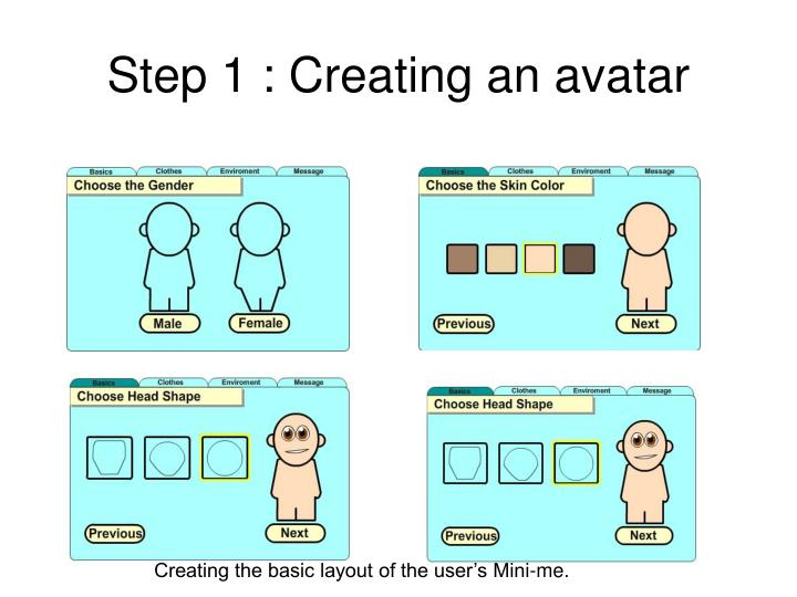 Step 1 : Creating an avatar