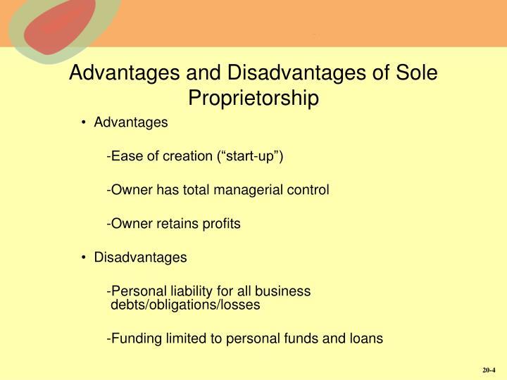 Advantages and Disadvantages of Sole Proprietorship