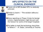 hifu effects on the clinical engineer