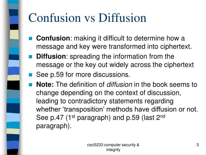 Confusion vs diffusion