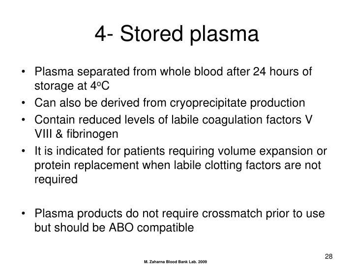 4- Stored plasma