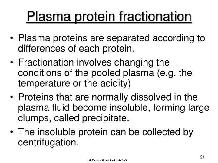 Plasma protein fractionation
