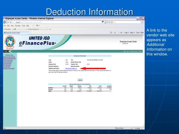 Deduction Information