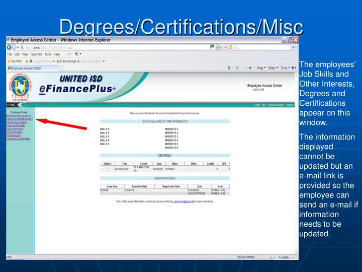 Degrees/Certifications/Misc