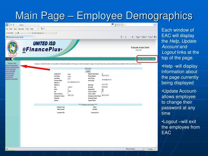 Main Page – Employee Demographics