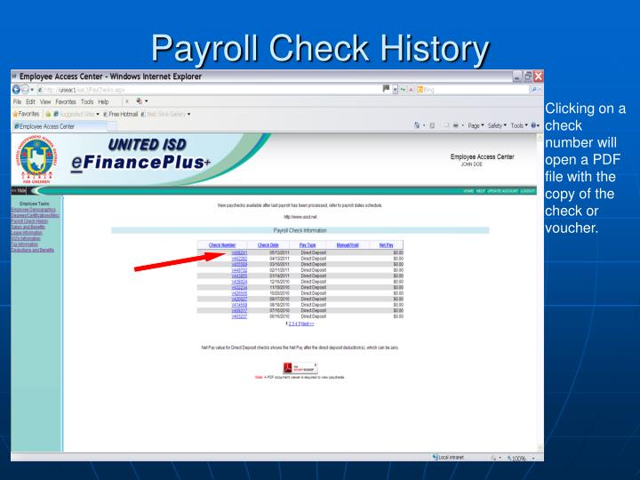 Payroll Check History