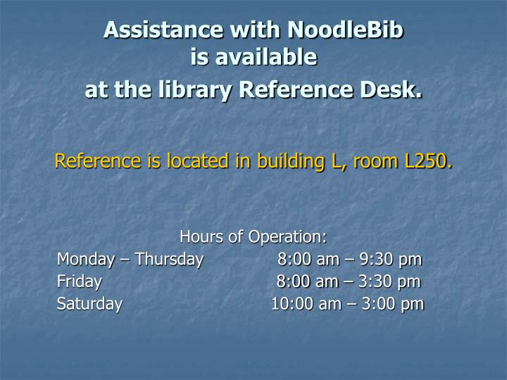 Assistance with NoodleBib