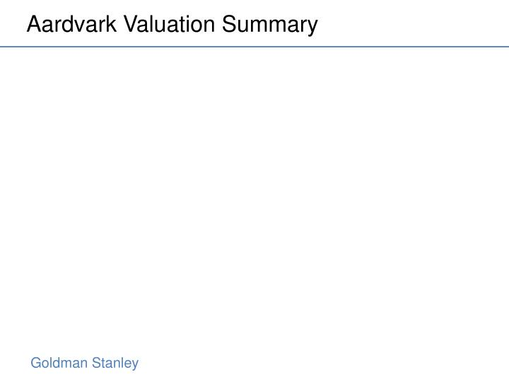 Aardvark Valuation Summary