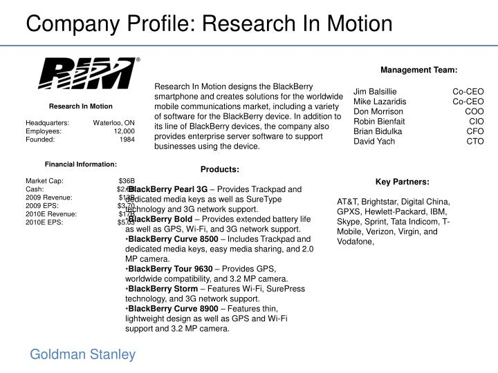 Company Profile: Research In Motion