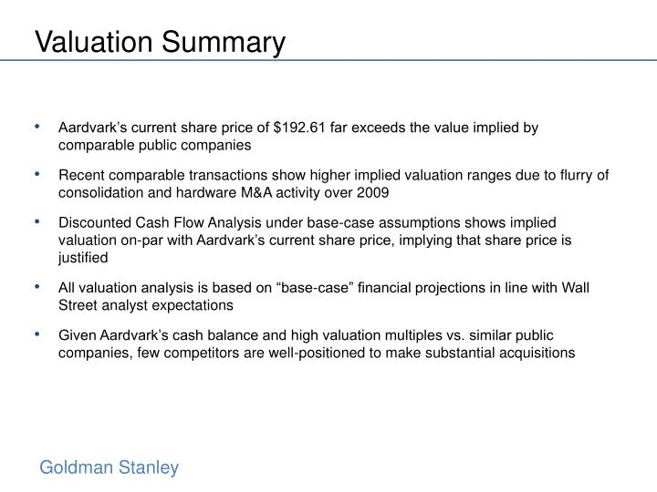 Valuation Summary