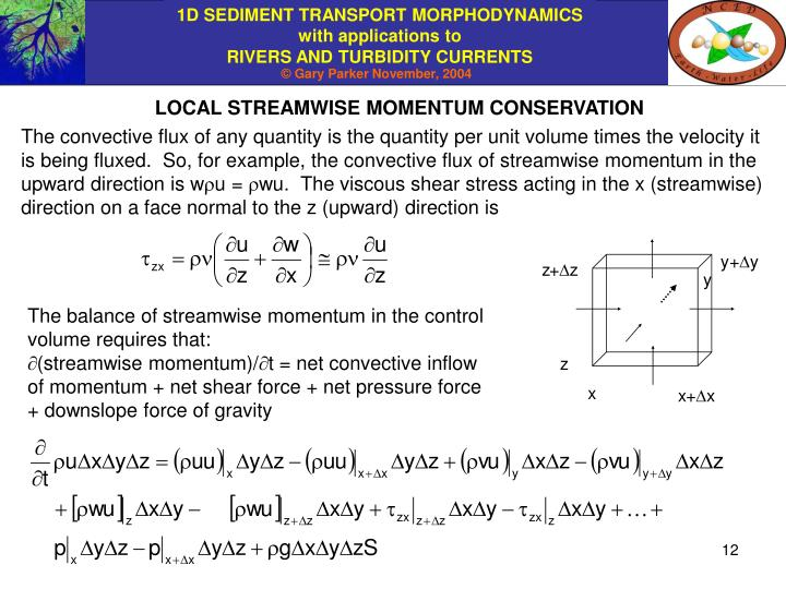 LOCAL STREAMWISE MOMENTUM CONSERVATION