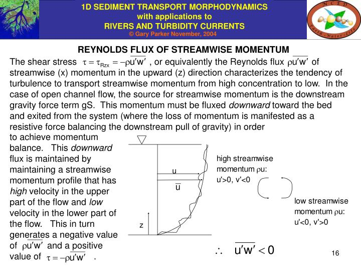 REYNOLDS FLUX OF STREAMWISE MOMENTUM