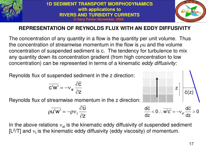 REPRESENTATION OF REYNOLDS FLUX WITH AN EDDY DIFFUSIVITY