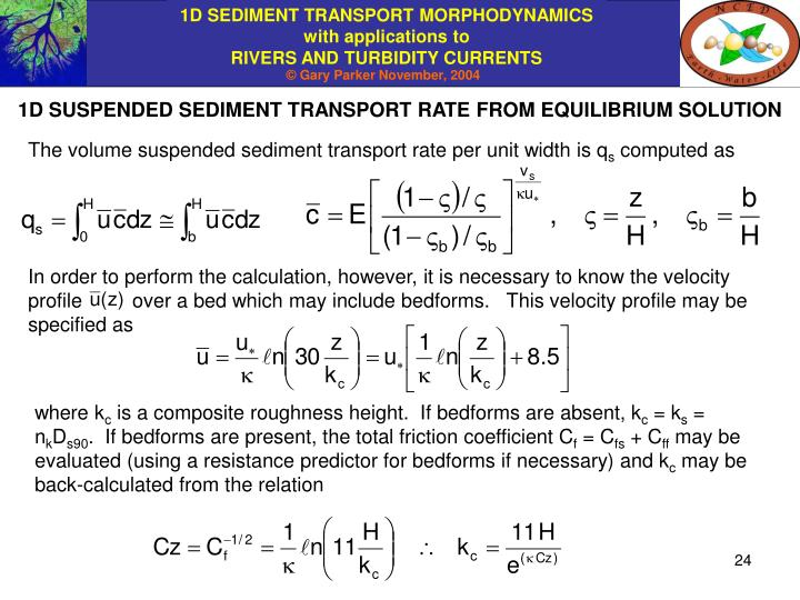 1D SUSPENDED SEDIMENT TRANSPORT RATE FROM EQUILIBRIUM SOLUTION