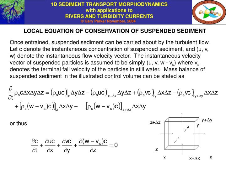 LOCAL EQUATION OF CONSERVATION OF SUSPENDED SEDIMENT