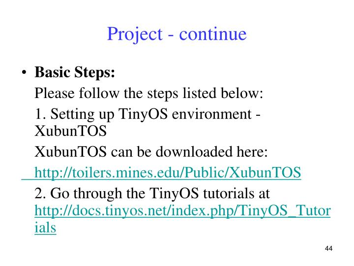 Project - continue