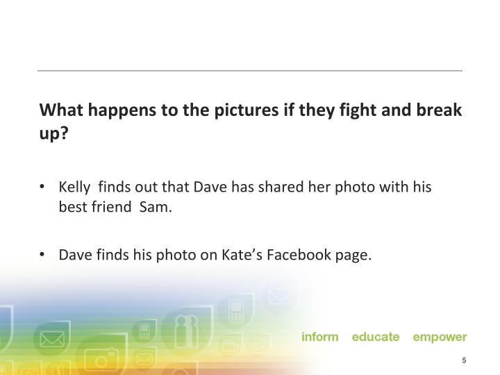 What happens to the pictures if they fight and break up?