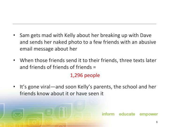 Sam gets mad with Kelly about her breaking up with Dave and sends her naked photo to a few friends with an abusive email message about her