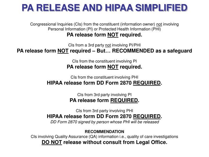 PA RELEASE AND HIPAA SIMPLIFIED