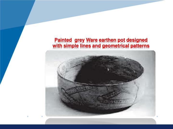 Painted  grey Ware earthen pot designed