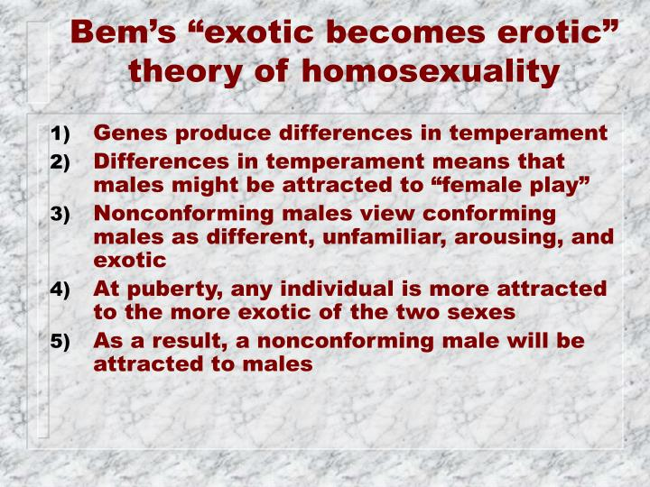 "Bem's ""exotic becomes erotic"""