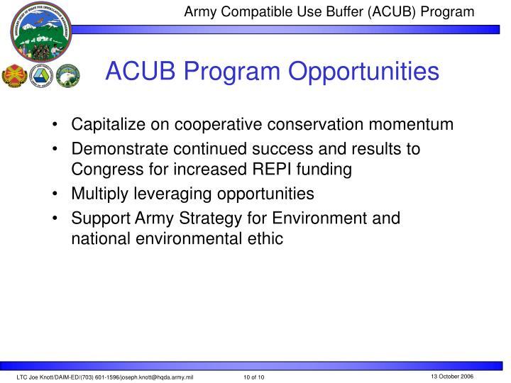 ACUB Program Opportunities
