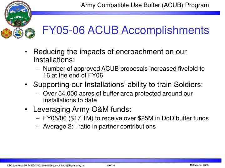FY05-06 ACUB Accomplishments