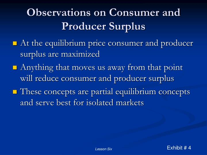 Observations on Consumer and Producer Surplus