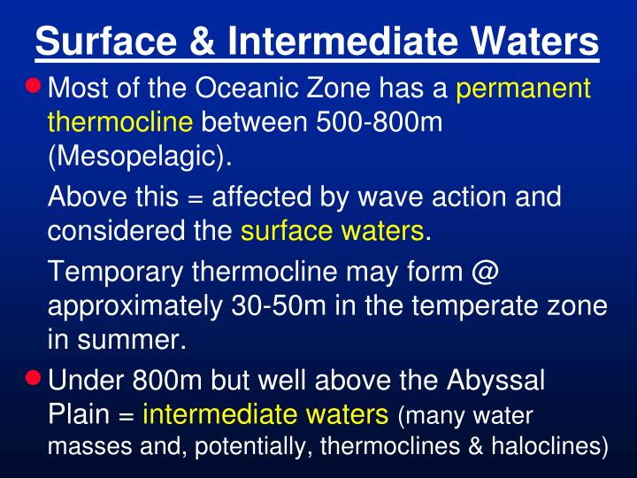 Surface intermediate waters