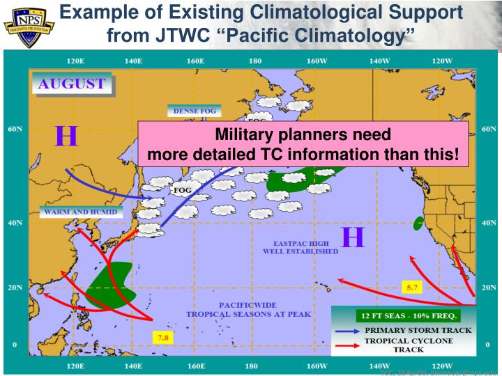 """Example of Existing Climatological Support from JTWC """"Pacific Climatology"""""""