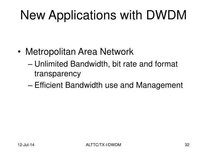 New Applications with DWDM