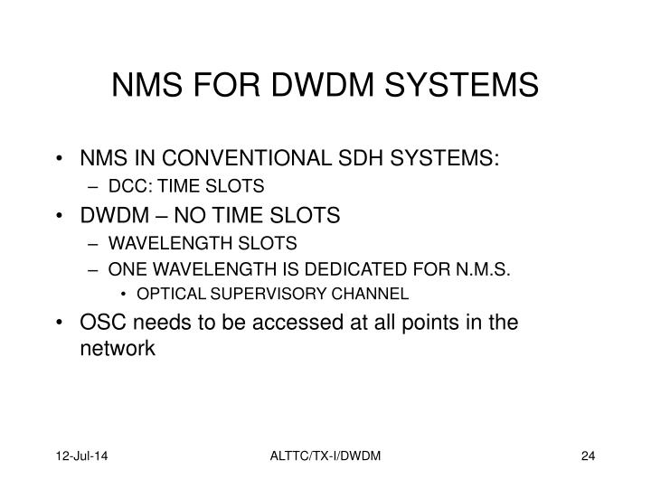 NMS FOR DWDM SYSTEMS