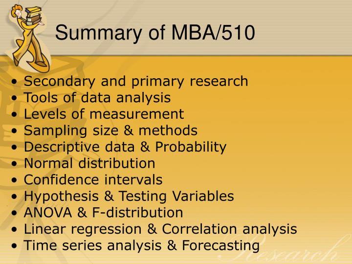 Summary of MBA/510