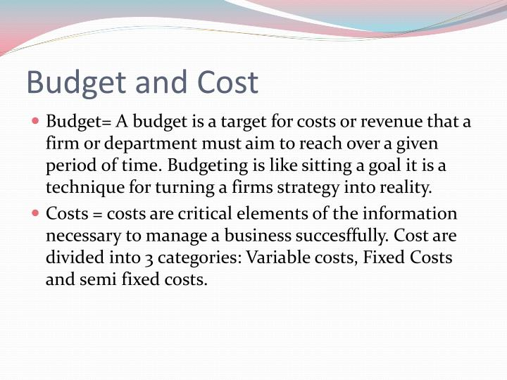Budget and Cost