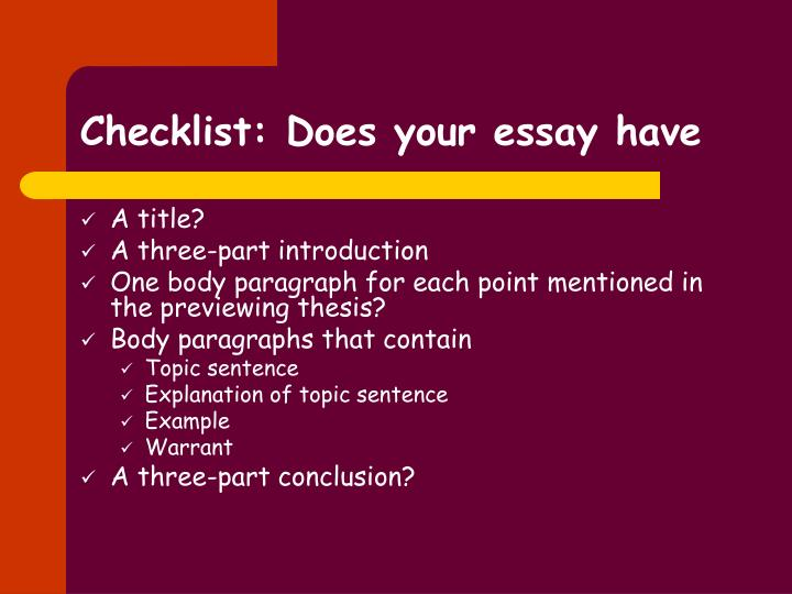 Checklist: Does your essay have