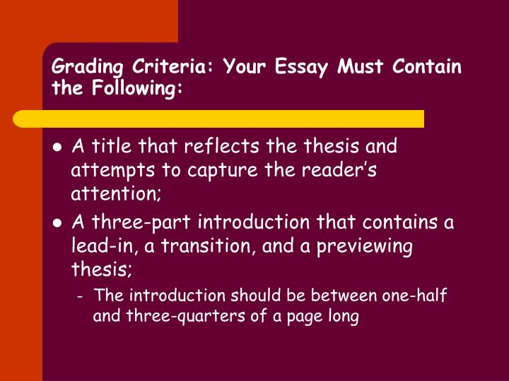 Grading criteria your essay must contain the following