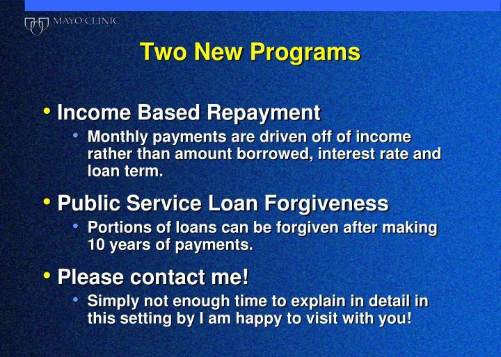 Two New Programs
