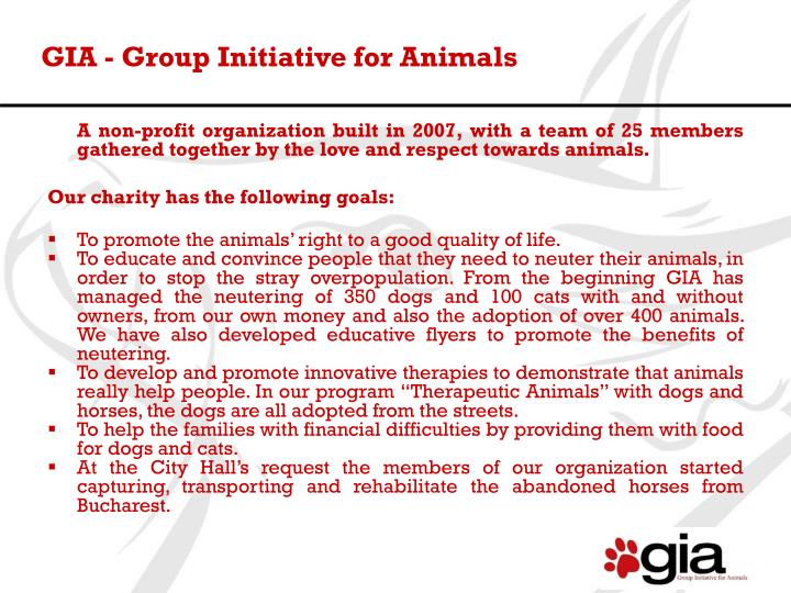 Gia group initiative for animals