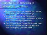 importance of fisheries to developing countries