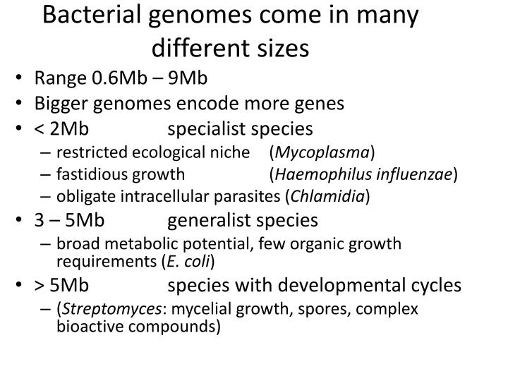 Bacterial genomes come in many different sizes