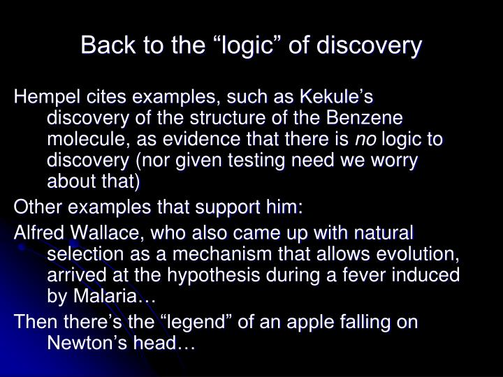 """Back to the """"logic"""" of discovery"""