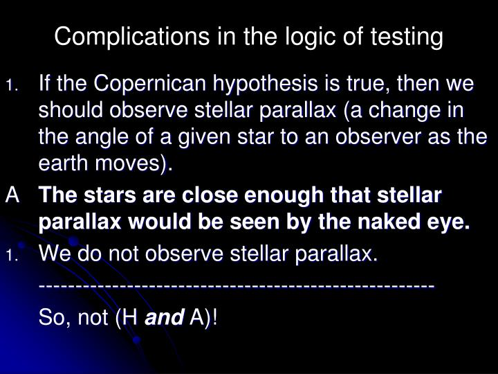 Complications in the logic of testing